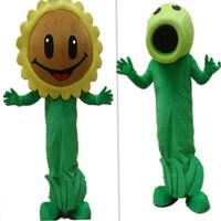 Wholesale Plants Vs Zombies Party - Plants vs zombies sunflower mascot Costume Zombies Cartoon Costume Christmas Party fancy Dress Adult size Factory Direct Sale