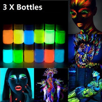 Wholesale-3pcs 25g glühendes Gesicht Body Paint Glow In The Dark 12 Farben Lumious UV Acrylfarben für Partei Halloween Körper Make