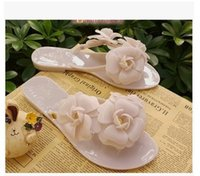Wholesale Nude Girls Beach - Girls jelly shoes wholesale woman pvc plastic slippers Melissa flip flop with camellia flower