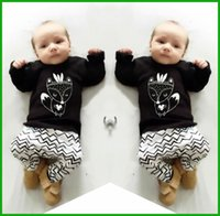 Wholesale Leopard Print Newborn Baby Clothes - 2016 New summer baby boy clothes set cotton Fashion letters printed T-shirt+pants 2pcs Infant clothes newborn baby clothing set