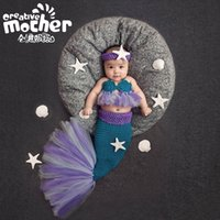 Wholesale Baby Girl Crochet Patterns - 2017 New Pattern Children Photography Clothing Mermaid Set Newborn Photo Props Handmade Crochet Baby Photography Props