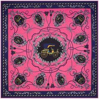Wholesale Woman Cotton Head Scarf - New color carriage rope tassel pattern silk scarves women square scarf 100*100cm Twill silk head scarf (S-005)