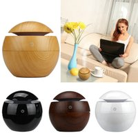 Wholesale Wooden Aroma Diffuser - Wholesale Mini Wooden Aromatherapy Humidifier Aroma Diffuser Essential Oil Diffuser Air Purifier Color Changing LED Touch Switch