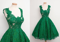 Wholesale Emerald Wedding Dresses - Emerald Green New Short Party Dresses 2016 Modern Ball Gowns Bridesmaid Formal Dress For Wedding Full Lace Knee Length Prom Cocktail Dress