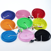 Wholesale dual usb cords - Noodle Braided cable Micro USB 2.0 Cable Sync Data Charging 1m 2m 3m Cord Flat Woven Fabric Dual Colors for Samsvng Galaxy S3 S4 S5