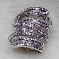 beyaz safir halka düğün toptan satış-Tam Prenses Kesim Lüks Takı 925 Ayar Siver 925 Ayar Gümüş Beyaz Safir Simüle Elmas Taşlar Düğün Kadın Yüzük Sz5-11