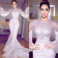 Wholesale Short Gold Prom Dresse - 2018 Newest Arabic Mermaid Dresse Evening Wear Long Sleeve Full Lace Pearls Prom Gowns Plus Size Formal Special Occasion Dress