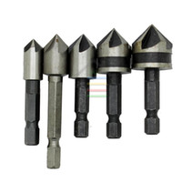 "Wholesale Woodworking Milling Cutter - 5pcs 5 Flutes 1 4""Hex HSS Countersink Drill Bit Counter Sink Bits Woodworking Chamfer Chamfering End Milling Cutter Reamer order<$18no track"
