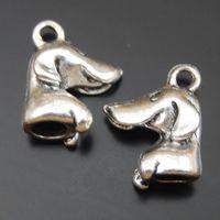 köpek antik gümüş kolye toptan satış-15 ADET Antik Gümüş Alaşım Köpek Kolye Charms Takı Bulma 16 * 11 * 5mm 50102 takı yapımı