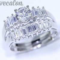 Wholesale simulated diamonds jewelry for men - Vecalon women men Jewelry Gift 1ct Simulated diamond cz Engagement Wedding Band Ring Set for Women White Gold Filled Finger ring