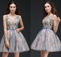 Wholesale V Top Dresses - Printed Short Ball Gown Homecoming Dresses See Through Top V Neck Cocktail Party Gowns Lace Up Low Back Mini Prom Dresses Online CPS667