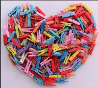 Wholesale Photo Pins - Mixed color Mini Wooden Clothes Photo Paper Peg Pin Clothespin Craft Clips Suspension frame creative product