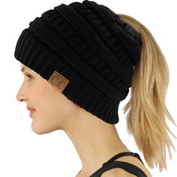 Wholesale Chunky Acrylic Yarn - CC Beanietail Messy High Bun Ponytail Stretchy Knit Beanie Skull Hat women warm hat CC Trendy Warm winter knitted Chunky Soft Slouchy caps
