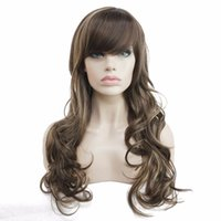 Wholesale Long Layered Brown Wig - Women's Synthetic Long Layered Style Straight Wigs Dark Brown with Blonde Highlights Full Wig