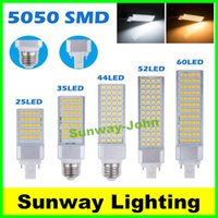 Wholesale Plugs Warmer - Horizontal Plug lights led corn bulb E27 G24 G23 SMD 5050 2835 AC 85-265V 6W 7W 9W 10W 12W 14W 15W 60 LEDs