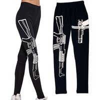 Wholesale Pants Machines - Wholesale- Bluelans Black Elastic Cotton Shape Leggings Machine Gun Print Leggings Pants