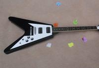 v magasin de guitare achat en gros de-Haute Qualité Custom Shop Noir 1958 Korina Guitare Volante Classique V Type Palissandre Guitare Électrique Guitare Livraison gratuite