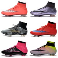 Wholesale Mens Boots Cheapest - Mercurial Football Boots Superfly IV BHM FG Mens Soccer Boots Cleats Cheapest Superfly Outdoors Sports Football Shoes Newest Sale Black Red