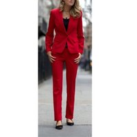 Wholesale Lady S Tuxedos - Fashionable women suits Red Women Ladies Business Office Tuxedos Custom Made Formal Work Wear New Suits