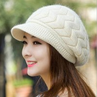 Wholesale Womens Fur Winter Hats - Womens Rabbit Fur Hat Stingy Brim Hats Winter & Fall Beanies Knitted Hats For Woman Cap Autumn And Winter Ladies Female Fashion Skullies