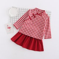 2018 Fashion Girls Chinese Style Costumi per bambini Sweet Spring Autunno Kids Girls Dress Plaid manica completa per bambini Outfits