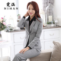 Wholesale Interview Clothes - Wholesale-Han Ni 2016 new winter wear women's clothing OL temperament interview chaps fitted ladies dress suit