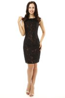 Wholesale Nail Melon - The new spring and summer 2016 white gauze round neckline shoulder black lace collar design nail bead brief paragraph Cocktail Dresses! Fash