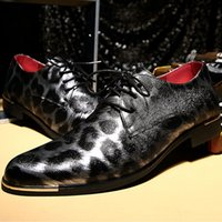 best spring shoes leopard wedge - Cool stylish Leopard print party dress shoes Italy men's gold metallic leather Oxford shoes, wool textured sequin toe lace up