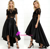 Wholesale Mystery Piece - Modern Mystery Black Satin High-Low Skirt 2016 A-Line Prom Dresses with Sheer Scoop Neck Short Sleeves Two Pieces Party Wear Cocktail Gowns