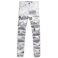 Wholesale Punk Rock Pants Zippers - New Original Design Top Quality Men's Galliano Slim Jeans Punk Rock Nightclub DS DJ Newspaper printed pattern Jeans Hairstylist beggar pants