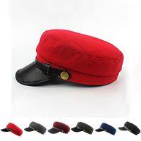 Wholesale Cadet Hats Wholesale - Unisex Army Cadet Military Navy Sailor Cap Flat Caps Top Beret Hat Leather Buckle for Men Women