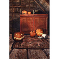Quarto interior Lanternas de abóbora Fotografia de Halloween Backdrops Vinyl Brown Cabinet Crianças Kids Photo Studio Background Vintage Wooden Floor