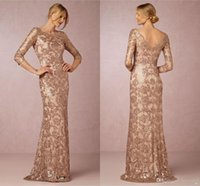 Wholesale Mother Bride Dress Rose - Long Sleeves Rose Gold Mother of the Bride Groom Dresses 2017 Bateau Neck Plus Size Vintage Lace Long Formal Evening Party Wear BA0528