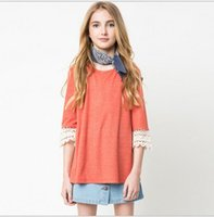 Wholesale Crochet T Shirt Color - Big Kids Girls Crochet Lace T-shirts Junior Fashion Cotton Shirts 2016 Teenager Autumn Candy Color Jumper Tops Children's Clothing