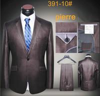 herren wollmäntel grau großhandel-Männer Blazer Luxus Wolle neuesten Mantel und Hosen Herren Anzüge einen Knopf schlank fit Business Smoking grauen Kaffee