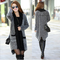 Wholesale Long Knit Shawls - Fashion New women sweater mohair knit sweater cardigan spring autumn winter long women knitwear shawl ree shipping