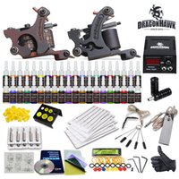 Wholesale Usa Warehouse Tattoo Ink Sets - Complete Tattoo Kits Tattoo Guns Kits 2 Tattoo Guns Machines 40 Tattoo Inks Set Needles Power Supply HW-10GD-8 US Warehouse free shipping