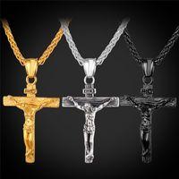 mulheres cruzam colares venda por atacado-U7 Crucifixo Cruz Pingente de Colar Pulseira de Ouro / Preto Gun Banhado / Aço Inoxidável Moda Jóias Religiosas para As Mulheres / Homens Colar de Fé