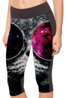 Wholesale Eyes Pants - Women Sports Capri Pants Fashion Short Leggings High Elastic Workout Cropped GYM Slim 3D Print Trousers Tight Black and Red Eyes Cat LN7Slgs