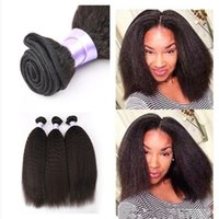 8A Malaisie Kinky Straight Weave Afro Kinky Straight Cheveux humains Yaki Hair waves 100% cheveux humains