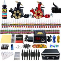 Wholesale Tattoo Machine Carrying Case - Solong Tattoo® Complete Tattoo Kit 2 Pro Machine Guns 54 Inks Power Supply Foot Pedal Needles Grips Tips Carry Case TK253