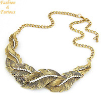 Vente en gros-Vintage Metal Leaves Statement Collier Femmes Rhinestone Colliers Pendentif Bijoux Colar For Gift Party