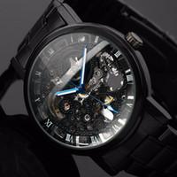 смотреть мужчин оптовых-2019 новый черный мужской наручные часы из нержавеющей стали античный стимпанк случайные автоматические скелет механические часы мужской + коробка часов