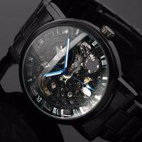 steampunk watch mekanik toptan satış-2019 Yeni Siyah erkek İskelet Kol Paslanmaz çelik Antik Steampunk Rahat Otomatik İskelet Mekanik Saatler Erkek + İzle Kutusu