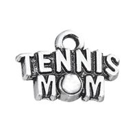 Wholesale Tennis Mom - new style 50pcs a lot antique silver plated tennis mom sport charms