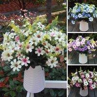 Wholesale Blue Flower Heads - Artificial False Chrysanthemun Flowers 18 Flower Head Leaf Wedding Party Garden Bridal Hydrangea Decor Flower Arrangmen Blue