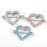 Wholesale nipples rings - Mix colors Heart Nipple Piercing Nipple Rings Jewelry Piercing Mamilo Barbell Nipple Piercing Rings 316L medical C028