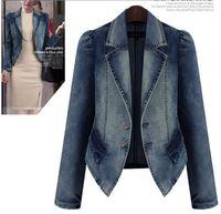 Wholesale Denim Jacket Puff - Denim Women's Jackets Autumn Lady's Wear Single-breasted Lapel Neck Puff Sleeve Slim Coat Fashion Casual Women Clothing Short Coat 4XL 5XL