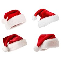 Wholesale New Christmas Party Cap Thick Ultra Soft Plush Santa Claus Christmas Holiday Hat cm Christmas Cap Red Santa Caus Hat
