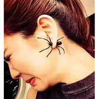 Wholesale Girls Spider Jewelry - 2016 Korean Fashion Fimo for black women spider Cartilage Ear Stud Earrings Jewelry Punk Girls